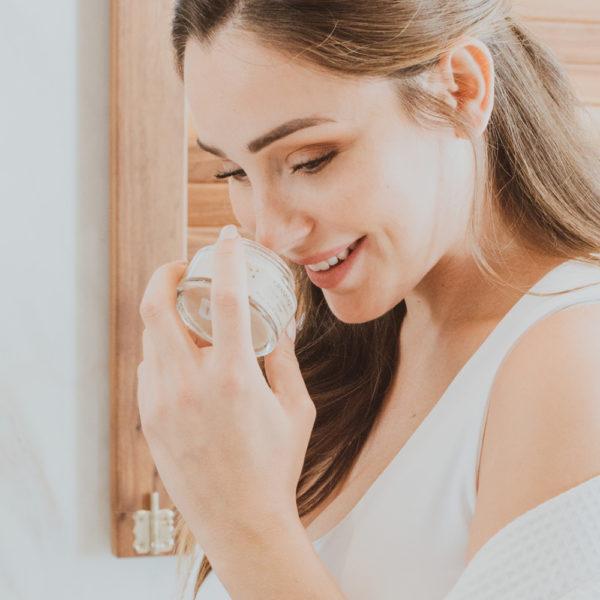creamy facial scrub with a delicious fragrance